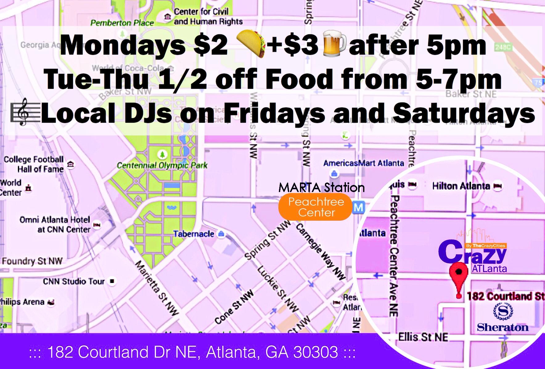 Americasmart Atlanta Map.Imprimir Crazy Atlanta Restaurant Bar